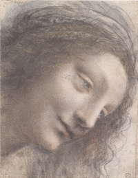 The head of the Virgin in three quarters on the right side