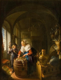 Gerrit (Gerard) Dow. The scene in the kitchen with a woman and a boy with a mousetrap