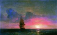 Sunset. A lone sailboat