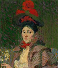 Куно Амье. Портрет женщины в красной шляпе (Эмми)