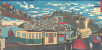Triptych: the Locomotive at the station of Tanakawa