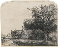 Рембрандт Ван Рейн. Пейзаж с тремя коттеджами вдоль дороги