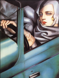 Tamara De Lempicka. Self portrait in green Bugatti