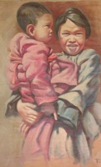 Китайская девочка с ребёнком