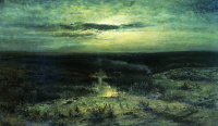 Moonlit night. Swamp