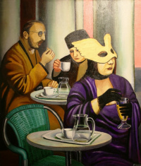 Cafe. A woman without a mask