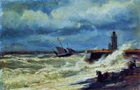 Алексей Петрович Боголюбов. Прибой в бурю. 1870-е.