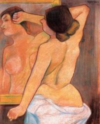 Обнаженная со спины в зеркале