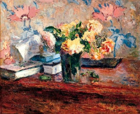 Still life with roses and books