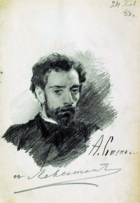 Portrait Of I. I. Levitan. Drawing signed by Levitan