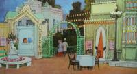 В Петровском парке, в саду Сакса. Эскиз декорации к пьесе А.Н.Островского. «Бешеные деньги» 1934 белила графитный карандаш