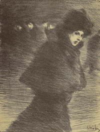 """To the song """"the Woman who passes by"""". Illustration to the book by P. Delmas, """"Female songs"""""""