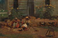 The yard of the cottage. Sketch