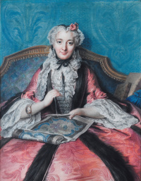 Шарль-Антуан Куапель. Портрет дамы за шитьём