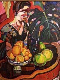 The fruit on the background of a portrait