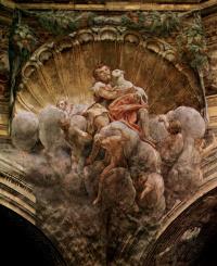 Купольная фреска в Кафедральном соборе, сцена: Благовещение, деталь свода: св. Иоанн Креститель