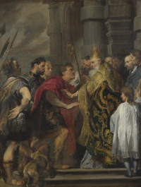 St. Ambrose would not let the Emperor Theodosius into the Cathedral of Milan