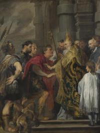 Святой Амвросий не пускает императора Феодосия в Миланский собор