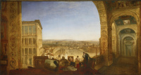 Rome from the Vatican. Rafael writes Fornarina for decoration of the loggia