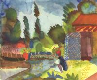 Август Маке. Тунисский пейзаж с сидящим арабом