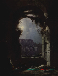 View of the Colosseum on a moonlit night