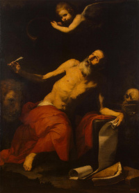 Saint Jerome and the angel (St. Jerome hears the sound of the heavenly trumpet)