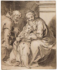 The Holy family by the fireplace