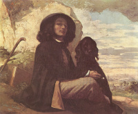 Gustave Courbet. Self-portrait with black dog
