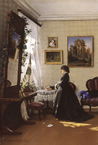 In front of the mirror. Reading the letter