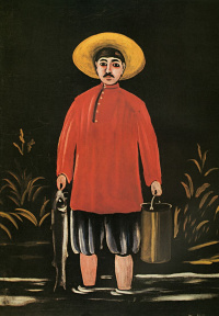 A fisherman in a red shirt