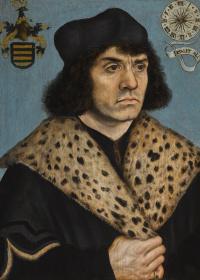 Портрет мужчины в пятнистом меховом воротнике