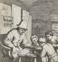 School teacher with three students at the table