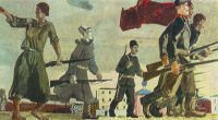 The uprising of 1905. Sketch for the painting of the VSHV