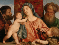 Тициан Вечеллио. Мадонна с вишнями (Мадонна со святым Иосифом, Иоанном Крестителем и святым Захарией)