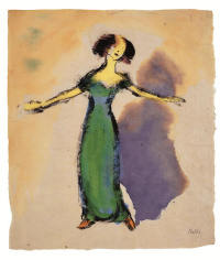 Emil Nolde. Singer in Green Dress