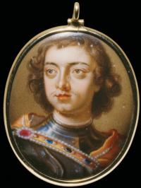 Шарл Буат. Портрет царя Петра I, около 1698, золото, эмаль