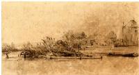 Рембрандт Харменс ван Рейн. Речной пейзаж с деревьями, лодкой, домиком и стогами сена