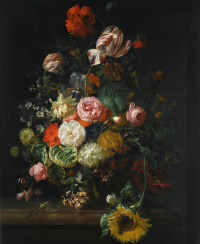 Roses, tulips, sunflowers and other flowers with insects in a glass vase