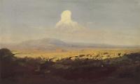 Cloud over a mountain valley