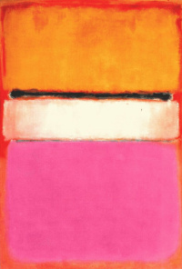 White center (yellow, pink and lavender on red)