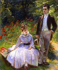 Пьер и его тетя Луиза в саду