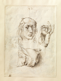 Self-portrait with a sketch of the arms and cushion (front side of sheet)