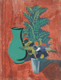 Green jug and bouquet. Still life