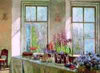 Праздник весны. Пасхальный стол у окна