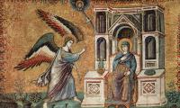 Цикл мозаик с шестью сценами из Жизни Марии в церкви Санта Мария в Трастеверде в Риме, сцена: Благовещение