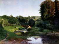 Village on the banks of the river