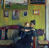 Борис Михайлович Кустодиев. Портрет Ю.Е. Кустодиевой с дочерью Ириной