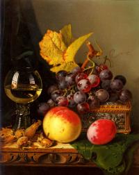 Still life of black grapes