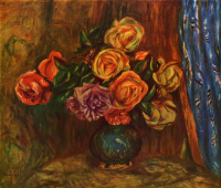 Пьер Огюст Ренуар. Натюрморт. Розы на фоне синего занавеса