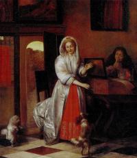 Женщина и мужчина с флейтой и танцующие собачки